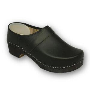 Schoenklompen voetvorm houten zool zwart