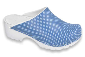 Schoenklompen Simson Vollsjo blauw met print