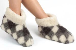 Woolwarmers Wollen Slof Dolly geblokt