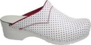 Schoenklompen Sanita San-Flex 314 wit-rood